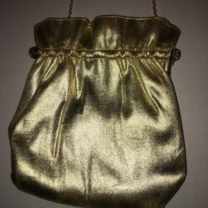 Vintage golden Lame clutch tote purse bag